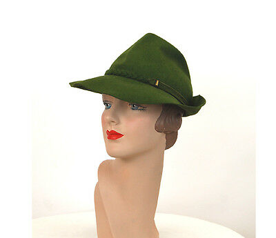 1940s fedora green wool felt tilt hat with braided band Merrimac Size 21