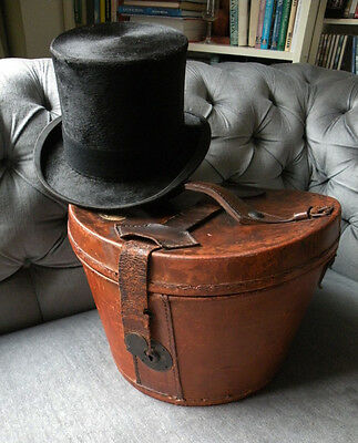 Antique Leather Hatbox & Black Silk Top Hat 6 7/8 Bennetts London