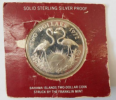 1972 Bahamas Flamingo Silver 2 Dollars Unc. Proof Coin