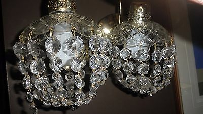 Vintage Pair Art Deco Crystal Wall Sconces Lighted  Prisms Pineapple Shaped Lam