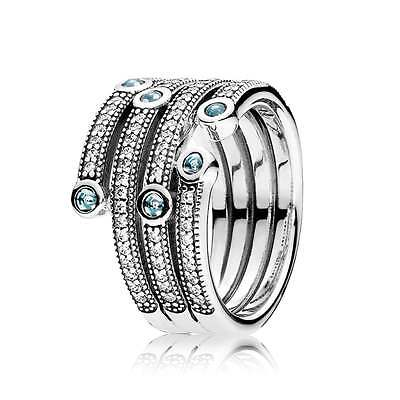 Pandora Shimmering Oceans Ring Various Sizes. Brand New With Pandora Pouch