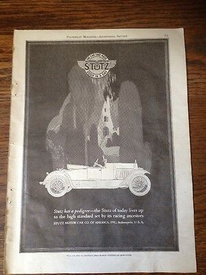 1920 STUTZ Motor Car Co. America Paper Ad Original