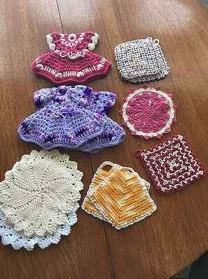 Vintage Hot Pads Crochet Potholders Lot of 11 Purple Pink Yellow Red White Cream
