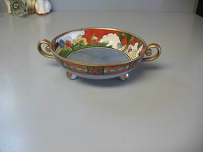Noritake Handled Footed Bowl Dish - Hand Painted Colorful Floral & Gold Trim