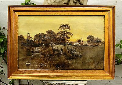 Late C19th Victorian English School Naive Oil on Canvas - Sheep in a Landscape