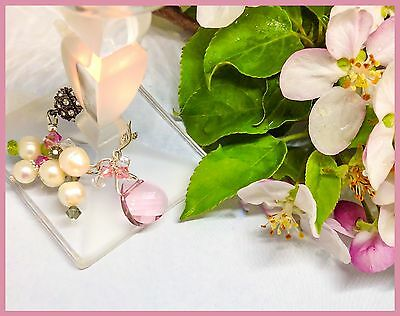 Apple Blossom Exquisite Wine Charm. Pink Quality Crystals, Real Pearls. Sterling