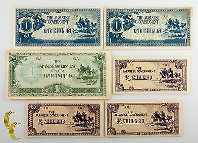 1942 Oceania Japan Occupation WWII 1, 1/2 Shilling & Pound (VF+ to UNC)