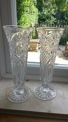 Cut Crystal Fluted Vase x2