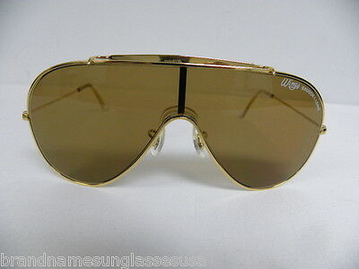 94806bab67 New Vintage B L Ray Ban Wings Gold Brown L1376 Bausch   Lomb Shield Aviator  USA