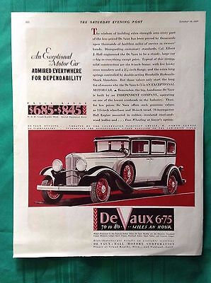 1931 Vintage Automobile Magazine Centerfold Ad~ Antique De Vaux ~Grand Rapids MI