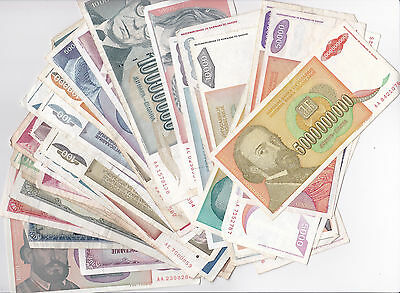 LOT of 600 Yugoslavia banknotes 40 different Many HYPERINFLATION 70s-90s VG-XF