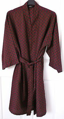 Vintage St Michael Red / Blue Paisley Print Dressing Gown Smoking Jacket Medium