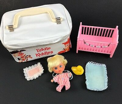Vintage Liddle Diddle Little Kiddle Doll, Set w/Crib,Duck & More,EXC