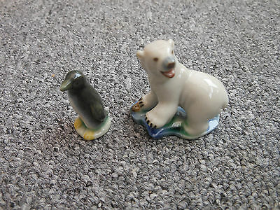 Wade pottery 1950s whimsies penguin and polar bear