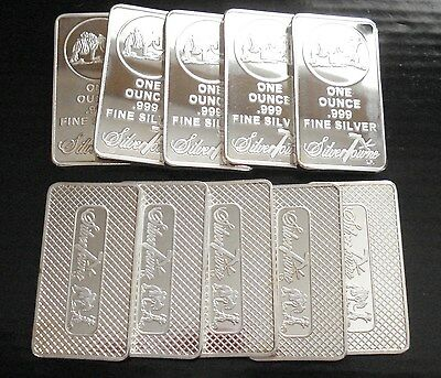 10) SilverTowne 1 oz .999 Silver Clad Art Bars ~ Silver Plated