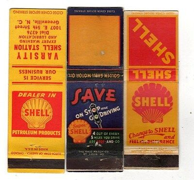 3 Vintage Shell Gasoline & Oil,Service Station,Advertising Matchbook Covers