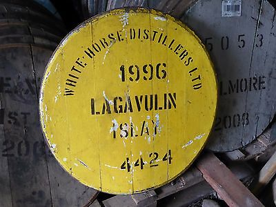 "Yellow Lagavulin Islay 24"" wide Whisky Cask Barrel Lid Cask end ready to hang"