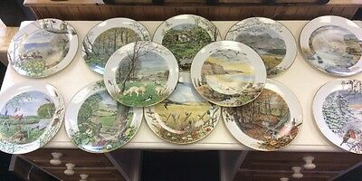 Set Of 12 Seasons Royal Worcester Plate by Peter Barrett Limited Edition