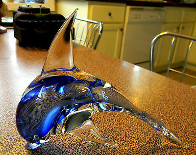 Beautiful Art Glass Leaping Dolphin Paperweight Figurine 8-Inches