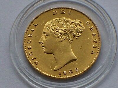 L@@K High Grade Victoria 1849 Gold Half-Sovereign Shield Back milled Gold Coin