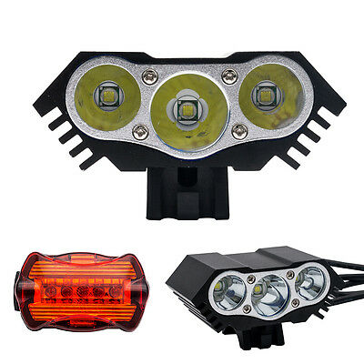 CREE XML T6 LED Bike Bicycle Headlight Front Rare Head Tail Light Torch 8000LM