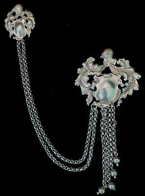 VINTAGE 49.3 STERLING Silver CINI Sweater DOUBLE Pin BROOCH Knight CHATELAINE