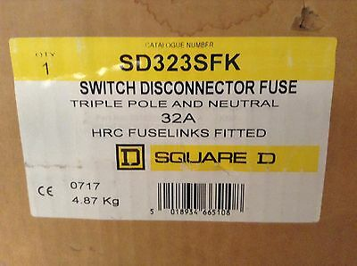 Square D Schneider 32A 415V Switch Disconnector Fuse SD323SFK Twinbreak NEW