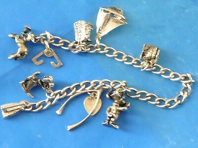 Vintage Sterling Silver 8 Charms Bracelet Articulated Charm Chicken Chiks Toilet