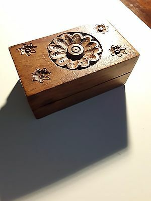 Wooden Box with carved floral detail