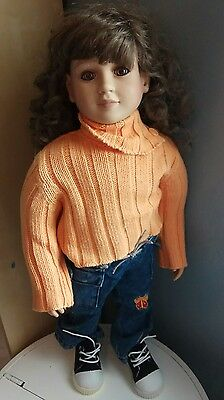 """My Twinn Doll 2002 23"""" Posable Tagged Outfit Shoes Brown Curly Hair Blue Eyes"""