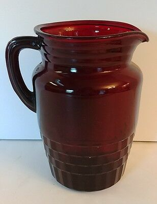 Vintage 1940s Anchor Hocking Royal Ruby Red Windsor Pattern Glass Water Pitcher
