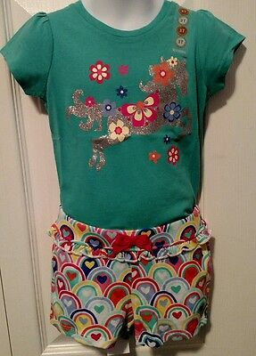 NWT Gymboree Toddler Girl Outfit Size 3T Shirt Shorts Horse Glitter Summer