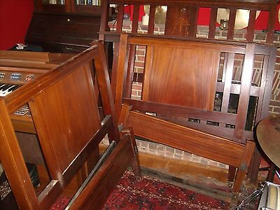 2 Beautiful Inlaid Mahogany Edwardian Beds, Head and Foot only