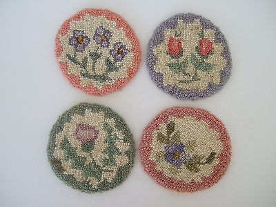 Cheticamp Nova Scotia Rug Hooking Coasters set of 4 floral motifs