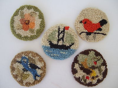 Cheticamp Nova Scotia Rug Hooking Coasters set of 5