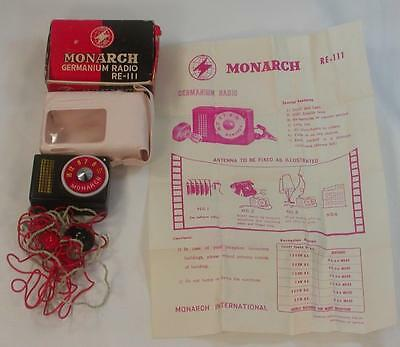 Vintage Nos Monarch Germanium Radio Re-111 Miniature Crystal Radio In Box Japan