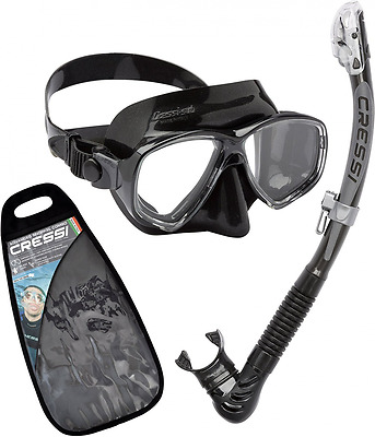 Cressi Marea Dry Vip Mexico Adult Snorkeling And Diving Premium Combo Set Black