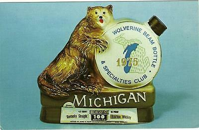 Jim Beam collector CARD of (Beam's WOLVERINE CLUB  BOTTLE 1975  )