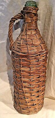 "Estate Found Large 17 1/2"" Antique Wicker Wrapped Demijohn Bottle"