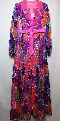 VINTAGE 70s Maxi Dress House Coat Purple Psychedelic Colors Long Costume Party