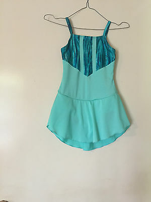 Ice Skating Costume - Aqua Fantasy Lycra  &  Mint Lycra Leotard - Child  7/8 New