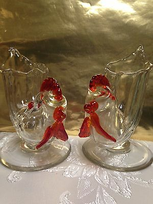 """2 Hand Blown Roosters """"Very Rare"""" Colorful"""