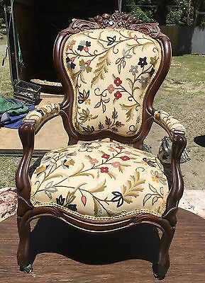 Walnut Carved Victorian Arm Chair