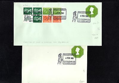 1980 GB pair of FDI 12p envelopes with Branch Office Special Cancels
