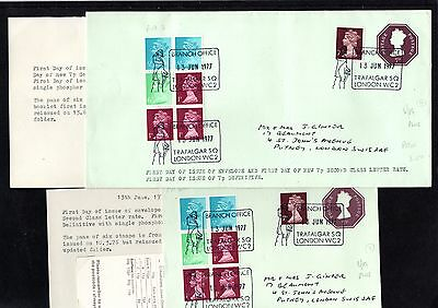 1975 GB pair of FDI 7p envelopes with Branch Office Special Cancels + Inserts