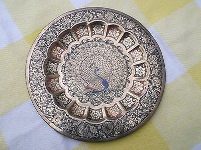Vintage Indian etched Peacock Brass Plaque Plate Ornament vgc