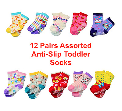 12 Pairs Assorted Anti-Slip Cotton Socks for 1-3 Years Baby