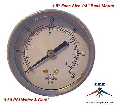 "Quality 1/8"" NPT Air Pressure Gauge 0-60 PSI Back Black Steel Mount 1.5"" Face"
