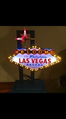 """Las Vegas Sign Excellent shape! Lights up- Collectable 13"""" Tall- 10"""" Wide"""