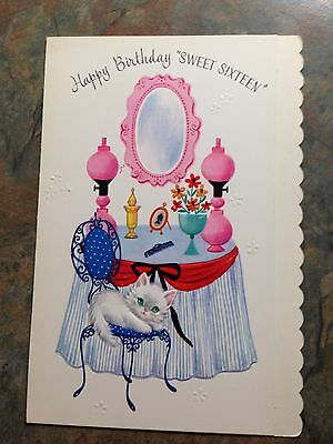 UNUSED Sweet 16 Birthday White Kitten Cat Pink Mirror Lamps Vanity Vtg Card